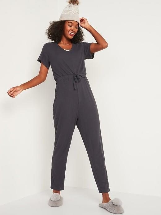<p>There's just something about a one-piece for lounging, and this <span>Old Navy Cozy Plush-Knit Tie-Waist Jumpsuit</span> ($25, originally $40) is no exception.</p>