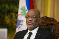 Haiti's Prime Minister Ariel Henry speaks during an interview with the Associated Press at his private residence in Port-au-Prince, Tuesday, Sept. 28, 2021. (AP Photo / Joseph Odelyn)