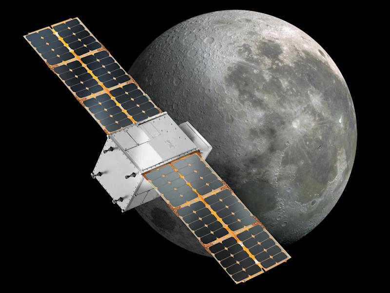 Artist illustration of NASA's CAPSTONE CubeSat along with the moon. Image credit: NASA