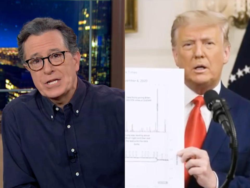 Stephen Colbert on his US TV show, and Donald Trump in his surprise Facebook speech (CBS)