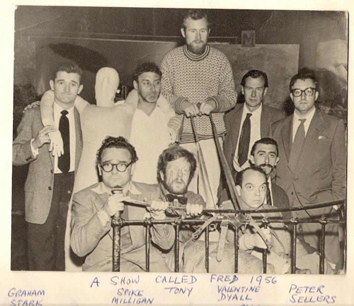 Douglas Gray (front row in bow tie) and Tony Gray (holding reins)in A Show Called Fred, with fellow comedians including Spike Milligan and Peter Sellers