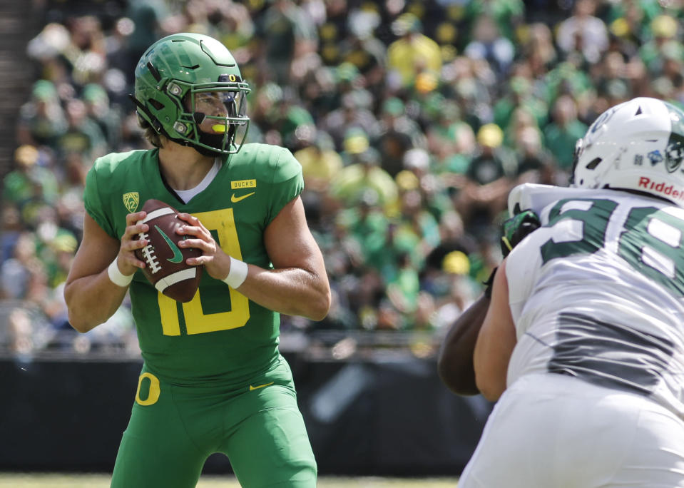 Oregon's Justin Herbert should be the top pick in the 2019 NFL draft as one scout considers him a once-a-decade type prospect. (AP)