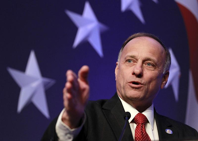 FILE - In this Feb. 10, 2011 file photo, Rep. Steve King, R-Iowa speaks in Washington. Republican-leaning areas in states vital to President Barack Obama's re-election prospects are drawing top-tier Democratic congressional candidates who, even if they lose, could help turn out the vote and boost Obama's chances of winning a second term. The best example of the trend is former Iowa first lady Christie Vilsack, challenging GOP Rep. Steve King in Iowa's 4th Congressional District. (AP Photo/Alex Brandon, File)