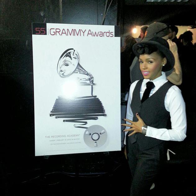 Janelle Monae stops by backstage #GrammyNoms - thegrammys, via Instagram