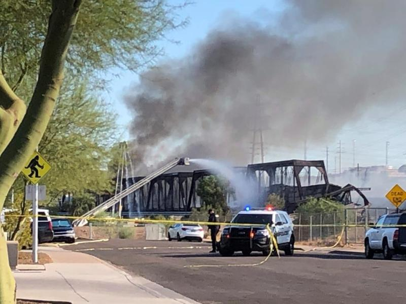 Freight train derails in Arizona sparking massive fire
