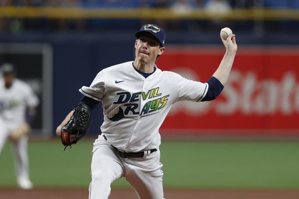 Tampa Bay Rays' starting pitcher Ryan Yarbrough works against the Boston Red Sox during the first inning of a baseball game Saturday, July 31, 2021, in St. Petersburg, Fla. (AP Photo/Scott Audette)