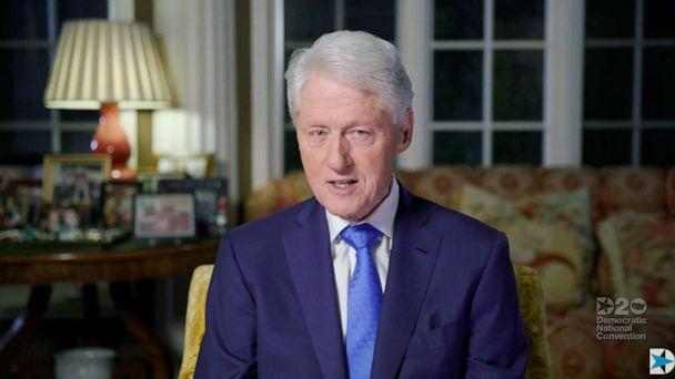 PHOTO: Former President Bill Clinton speaks via video feed during the second day of the Democratic National convention, Aug. 18, 2020, which is being held virtually, due to the coronavirus pandemic. (Democratic National Convention via AFP/Getty Images)