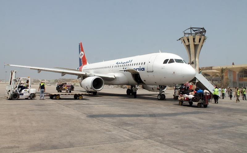 A Yemenia Airways plane at the airport in Aden on August 6, 2015, the first civilian aircraft to land in Aden in more than four months