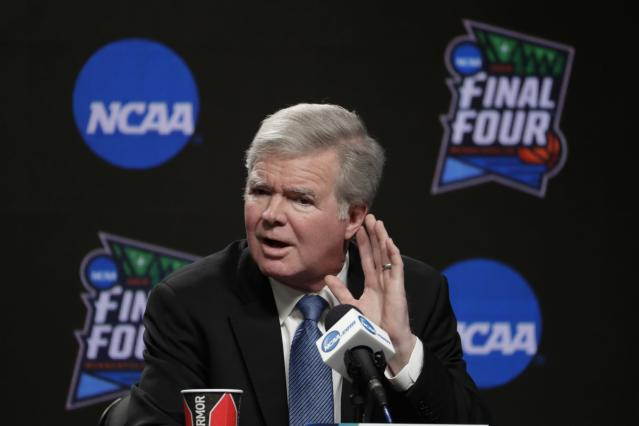 NCAA President Mark Emmert answers questions at a news conference at the Final Four college basketball tournament, Thursday, April 4, 2019, in Minneapolis. (AP Photo/Matt York)