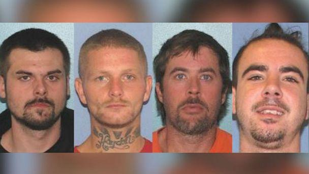 PHOTO: From left, Lawrence R. Lee III, Troy R. McDaniel Jr., Brynn K. Martin and Christopher M. Clemente escaped from the Gallia County Jail in Gallipolis, Ohio, early on the morning of Sept. 29, 2019. (Gallia County Sheriff/Facebook)