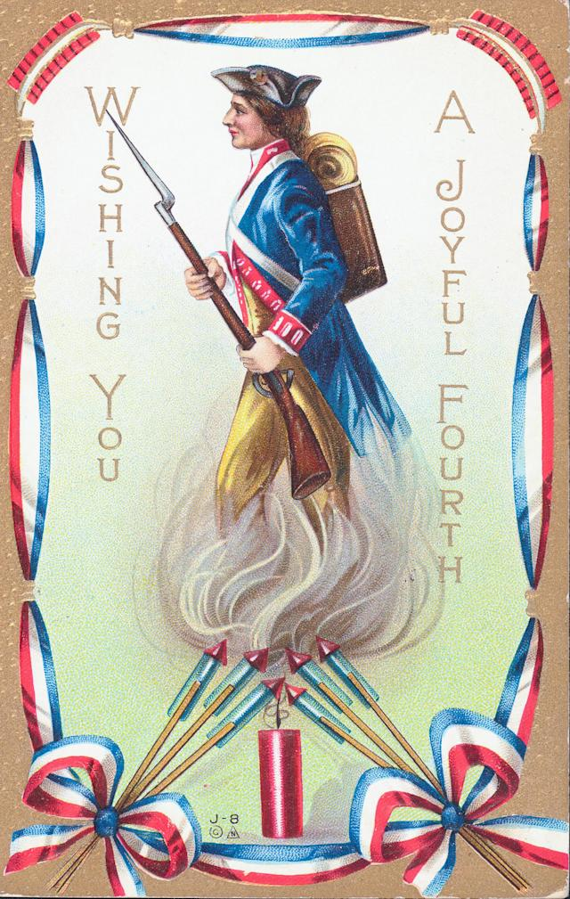 <p>Illustrated color postcard showing an American soldier and the colors of the American flag, to celebrate the Fourth of July, Independence Day. (Photo: Kean Collection/Archive Photos/Getty Images) </p>
