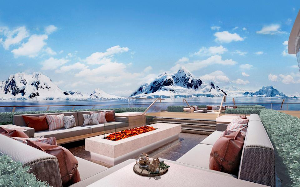 Rendering of the Deck 2 Aft area, Finse Terrace, on-board the Viking Expedition ship - Rottet Studio/Viking
