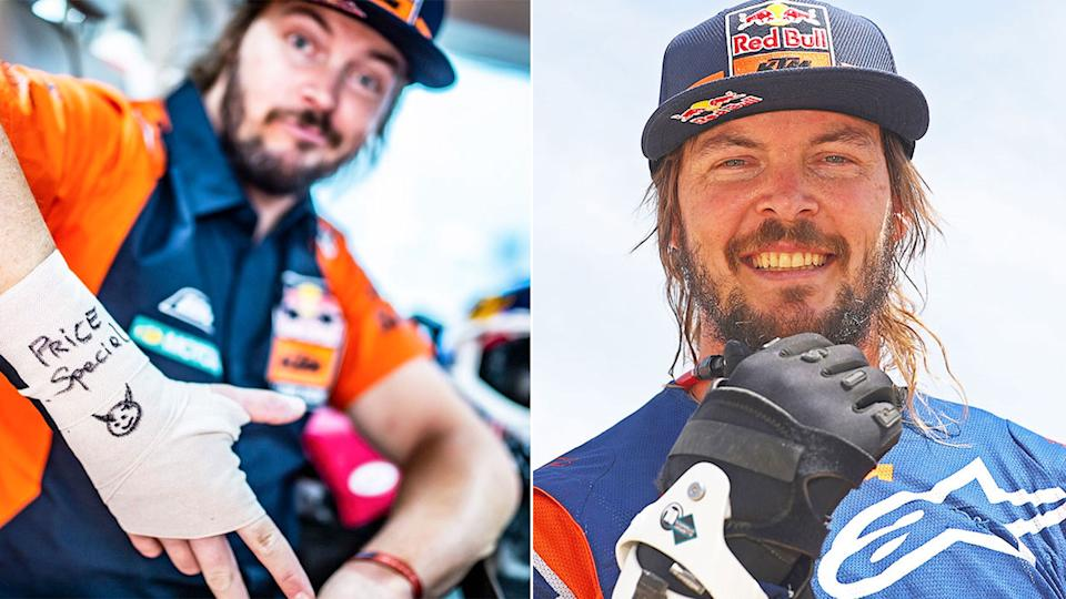 Pictured here, Toby Price wore protection for his broken wrist in the 2019 Dakar Rally.