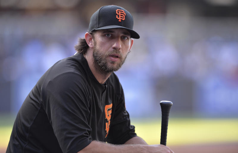 San Francisco Giants' Madison Bumgarner looks on before the baseball game against the San Diego Padres Friday, July 26, 2019, in San Diego. (AP Photo/Orlando Ramirez)