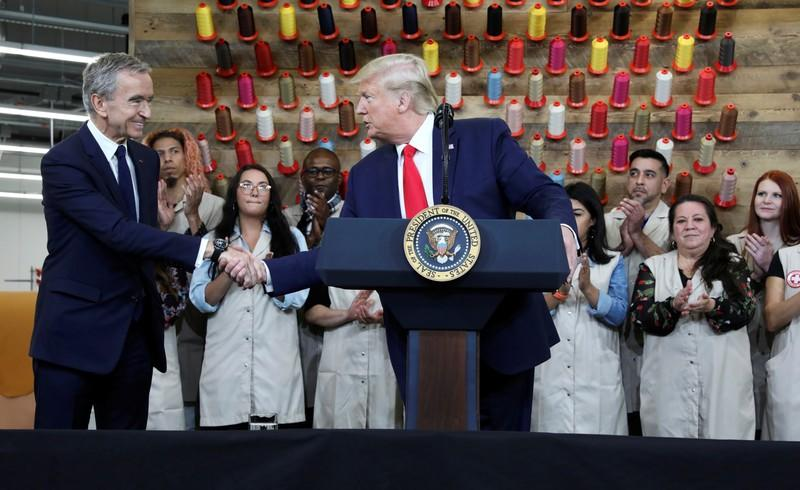 U.S. President Donald Trump visits the Louis Vuitton Rochambeau Ranch leather workshop in Keene, Texas