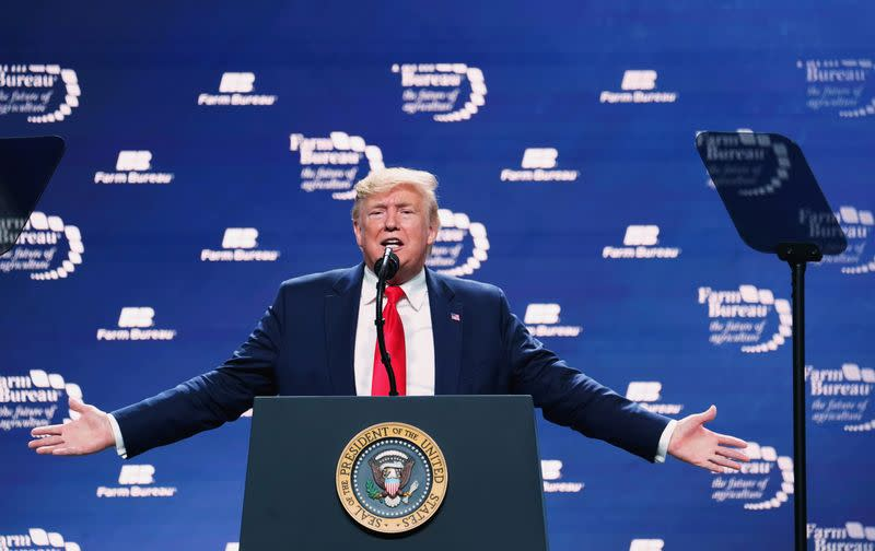 U.S. President Trump speaks at the American Farm Bureau Federation Annual Convention and Trade Show in Austin
