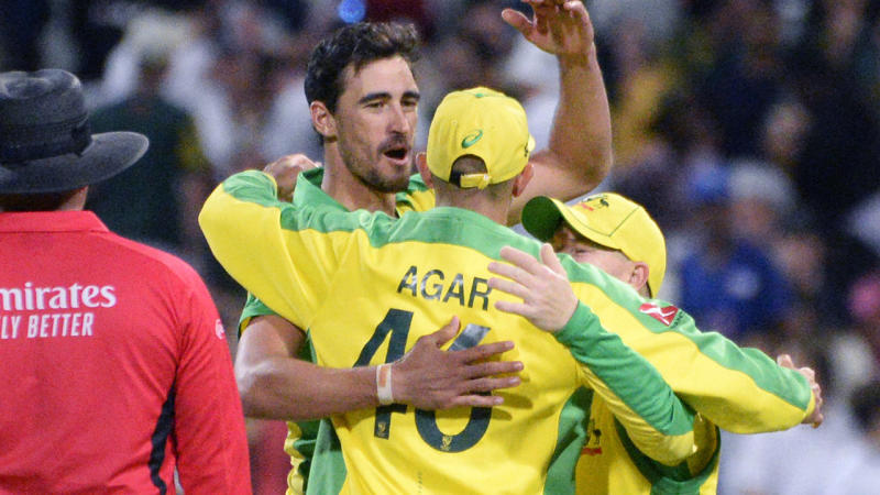 Mitchell Starc and the Aussies, pictured here celebrating victory over South Africa.