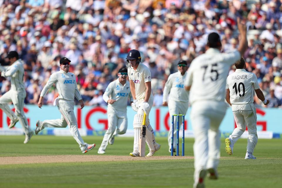 England batsman Dan Lawrence is dismissed by New Zealand bowler Neil Wagner for 0 (Getty)