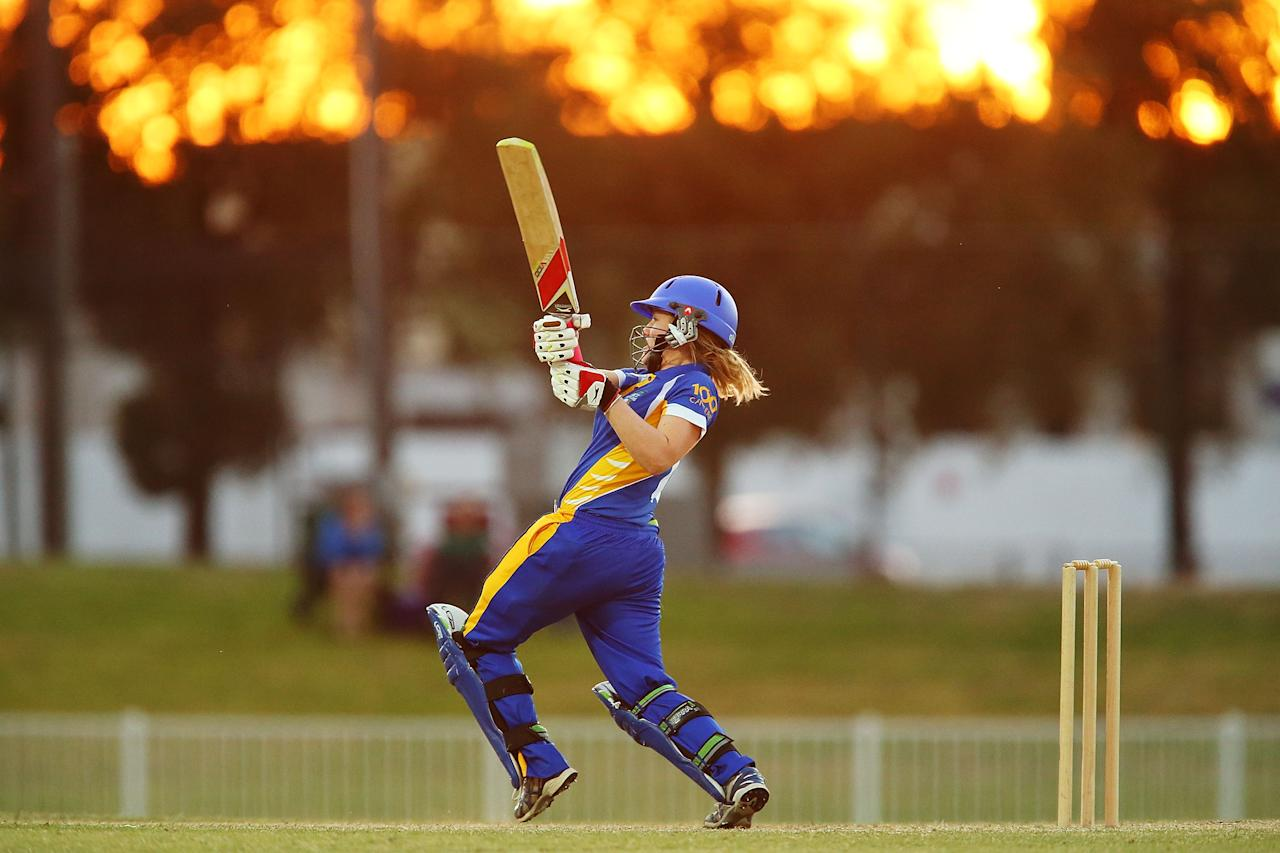 WAGGA WAGGA, AUSTRALIA - NOVEMBER 23:  Sara Hungerford of ACT plays a stroke on the leg side during a WNCL match between ACT and New South Wales at Robertson Oval on November 23, 2013 in Wagga Wagga, Australia.  (Photo by Brendon Thorne/Getty Images)
