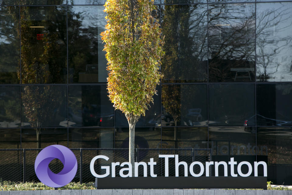 A logo sign outside of a facility occupied by Grant Thornton Inc., in Edison, New Jersey on November 6, 2016. Photo by Kristoffer Tripplaar *** Please Use Credit from Credit Field ***