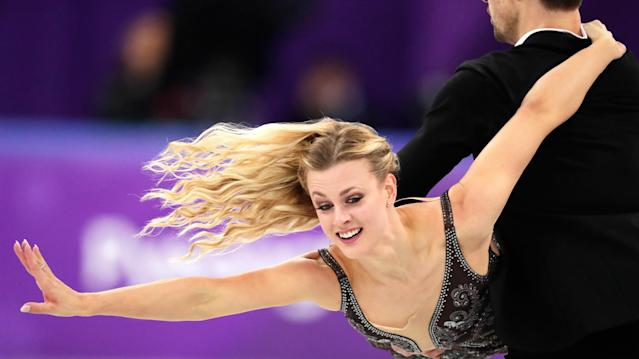 <p>Madison Hubbell and Zachary Donohue of the United States perform during the ice dance, free dance figure skating final in the Gangneung Ice Arena at the 2018 Winter Olympics in Gangneung, South Korea, Tuesday, Feb. 20, 2018. (AP Photo/Julie Jacobson) </p>