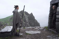<p>At the end of <em>The Force Awakens, </em>Rey (Daisy Ridley) went to see Luke (Mark Hamill), who had been living as a hermit on a remote island called Ahch-To. <em>The Last Jedi </em>picks up where that film left off: With a conversation that doesn't exactly go as Rey might have hoped.<br>(Credit: Lucasfilm) </p>