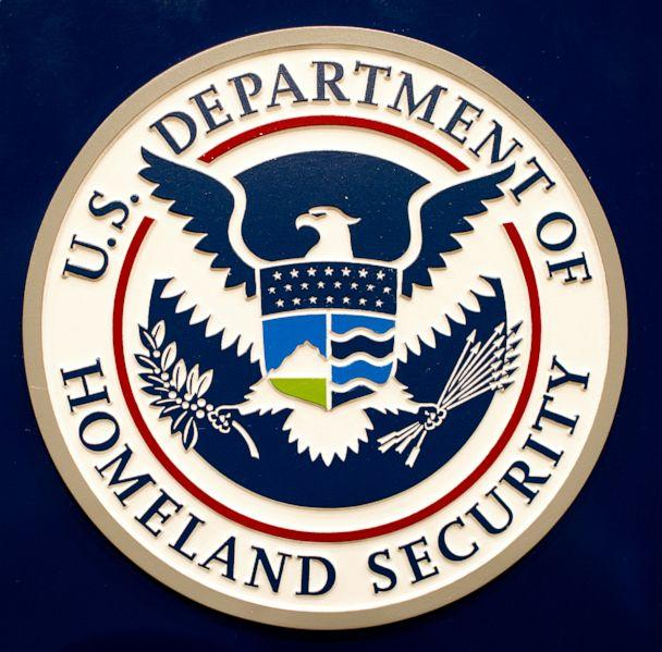 PHOTO:The Homeland Security logo is seen before a press conference at FEMA headquarters in Washington, Aug. 26, 2011. (AFP via Getty Images)