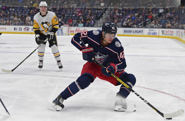 Columbus Blue Jackets' Alexandre Texier controls the puck during the second period of a preseason NHL hockey game against the Pittsburgh Penguins, Saturday, Sept. 21, 2019, in Columbus, Ohio. (AP Photo/David Dermer)