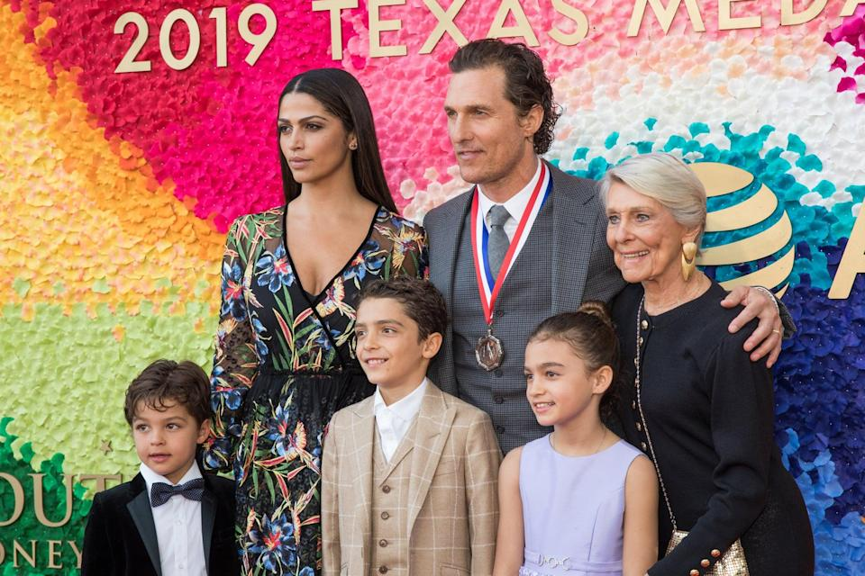 AUSTIN, TEXAS - FEBRUARY 27: (L-R) Livingston Alves McConaughey, Camila Alves, Levi Alves McConaughey, honoree Matthew McConaughey, Vida Alves McConaughey, and Kay McConaughey attend the 2019 Texas Medal Of Arts Awards at the Long Center for the Performing Arts on February 27, 2019 in Austin, Texas. (Photo by Rick Kern/WireImage)