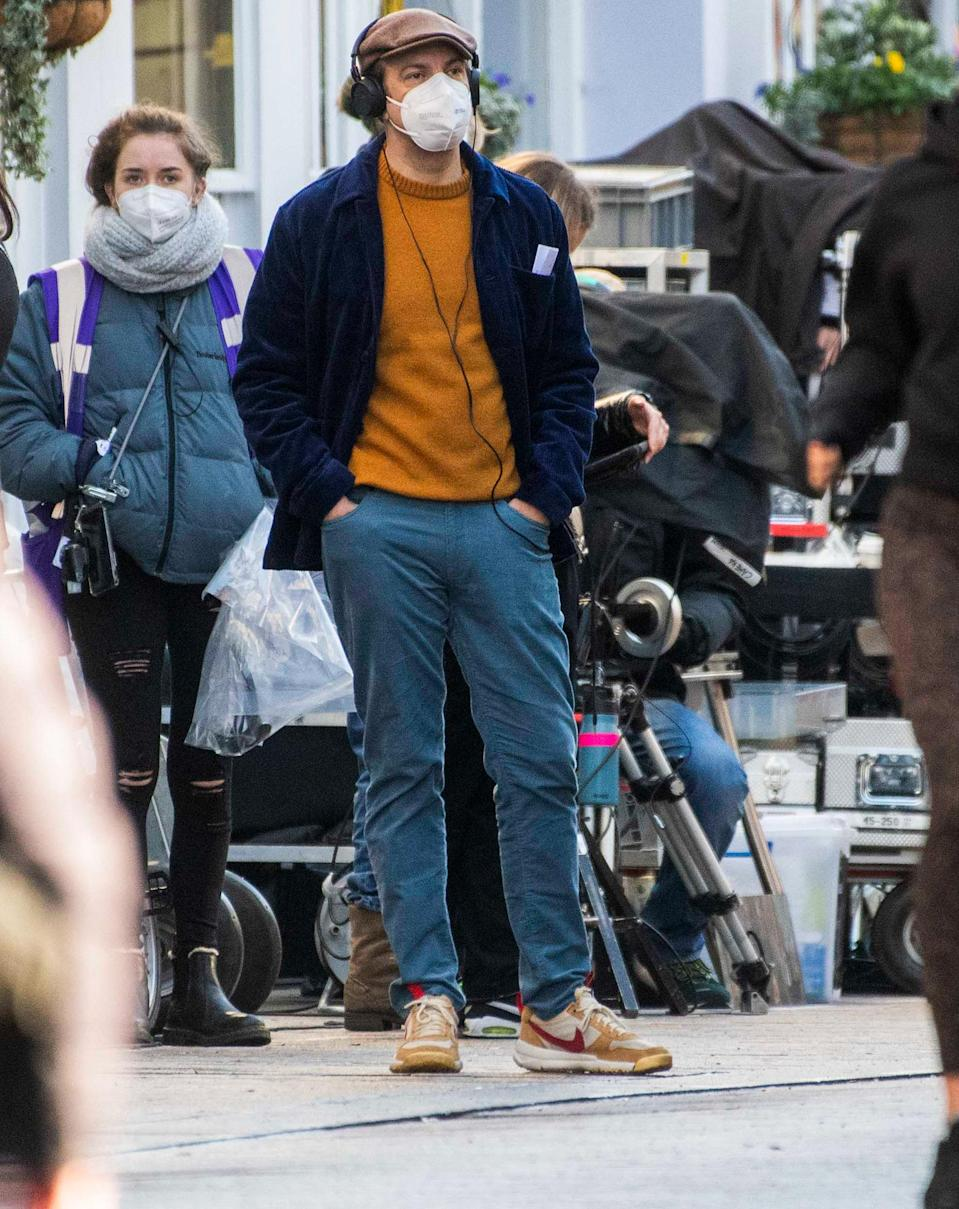<p>Jason Sudeikis is seen giving direction to his co-star Hannah Waddingham on the set of <em>Ted Lasso</em> on Friday in London.</p>