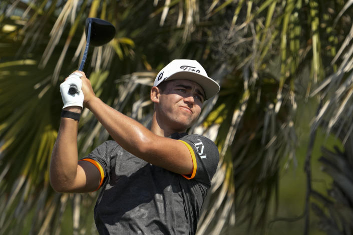 Garrick Higgo, of South Africa, watches his tee shot on the third hole during a practice round at the PGA Championship golf tournament on the Ocean Course Tuesday, May 18, 2021, in Kiawah Island, S.C. (AP Photo/David J. Phillip)