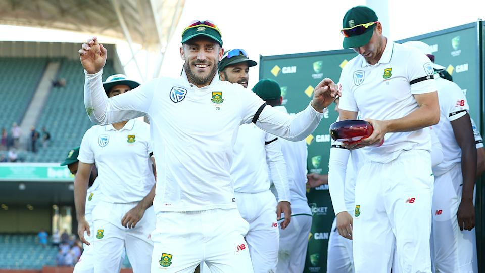 Faf du Plessis, pictured here after South Africa's series win over Australia in 2016.