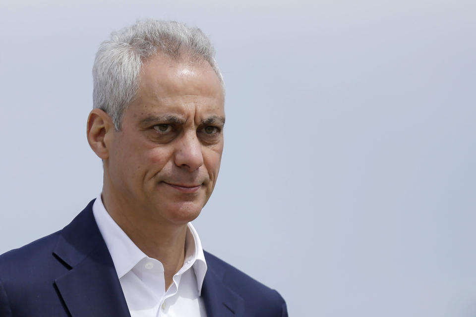 FILE - In this April 22, 2019, file photo, Chicago Mayor Rahm Emanuel waves as he arrives at a news conference outside of the south air traffic control tower at O'Hare International Airport in Chicago. President Joe Biden is nominating former Chicago Mayor Rahm Emanuel to serve as his envoy to Japan. (AP Photo/Kiichiro Sato, File)