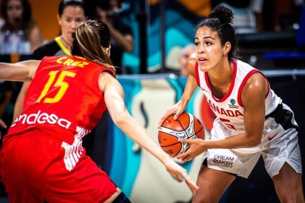 Canada's Kia Nurse, right, will take on more of a leadership role during her second Olympic appearance as the team prepares to head to Tokyo 2020. (Vianney Thibaut/Canada Basketball - image credit)