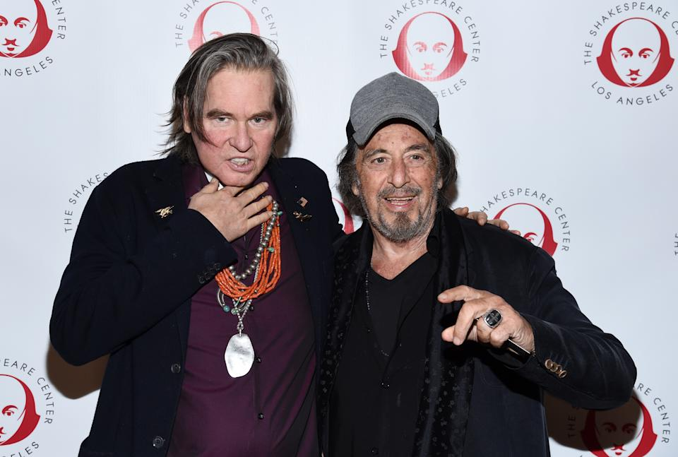 """LOS ANGELES, CALIFORNIA - OCTOBER 28: Val Kilmer (L) and Al Pacino attend the Simply Shakespeare's Live Read of """"The Merchant Of Venice"""" at Walt Disney Concert Hall on October 28, 2019 in Los Angeles, California. (Photo by Amanda Edwards/Getty Images)"""