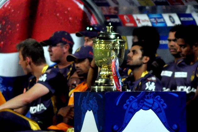 The IPL Cup on display at the IPL T-20 match between Kolkata Knight Riders and Delhi Daredevils at Eden Gardens in Kolkata.on April 3, 2013. (Photo: IANS)