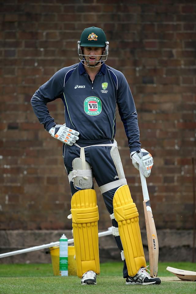 BIRMINGHAM, ENGLAND - SEPTEMBER 10:  Adam Voges of Australia looks on during a net session ahead of the third NatWest One Day International Series match between England and Australia at Edgbaston on September 10, 2013 in Birmingham, England.  (Photo by Clive Mason/Getty Images)