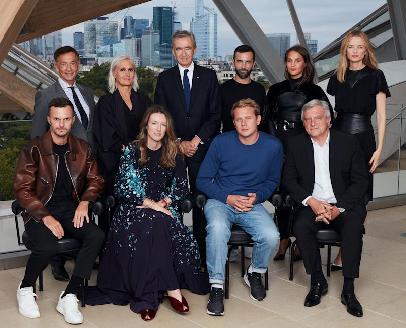 This year's jury includes (top row, from left) Jean-Paul Claverie, Maria Grazia Chiuri, Bernard Arnault, Nicolas Ghesquière, Alicia Vikander, Delphine Arnault, (bottom row, from left) Kris Van Assche, Clare Waight Keller, Jonathan Anderson, and Sidney Toledano
