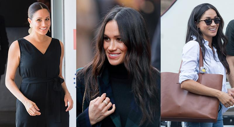 We look back at Meghan Markle's stylish wardrobe as she steps down from her role as a senior royal today. (Getty Images)
