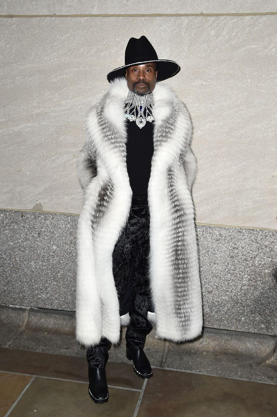 """<p>For a performance at the 87th Annual Rockefeller Center Christmas tree lighting ceremony, the star wore a white and black coat by Helen Yarmark, trousers by Sharon Wauchob, a black fedora by Eshensel, black heeled boots by Jimmy Choo and jewellery by Oscar Heyman.</p><p>'We LIT that tree henneys!!! he captioned a photograph of his attire on <a href=""""https://www.instagram.com/p/B5tADyHlBxe/"""" rel=""""nofollow noopener"""" target=""""_blank"""" data-ylk=""""slk:Instagram"""" class=""""link rapid-noclick-resp"""">Instagram</a>. </p>"""