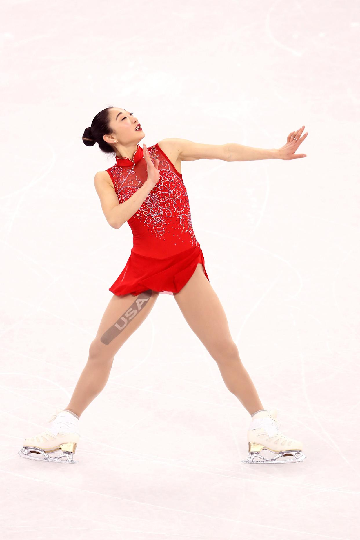 """Nagasu, of the U.S., wore this costume for her free skate in the&nbsp;women's single event, and earlier at&nbsp;the team event, where she became the <a href=""""https://www.huffingtonpost.com/entry/mirai-nagasu-triple-axel-olympics_us_5a8102d8e4b0c6726e14b9e4"""" rel=""""nofollow noopener"""" target=""""_blank"""" data-ylk=""""slk:first American woman to land a triple axel at the Olympics"""" class=""""link rapid-noclick-resp"""">first American woman to land a triple axel at the Olympics</a>. Because of that, this bold red ensemble seems destined to become one of the sport's most iconic."""