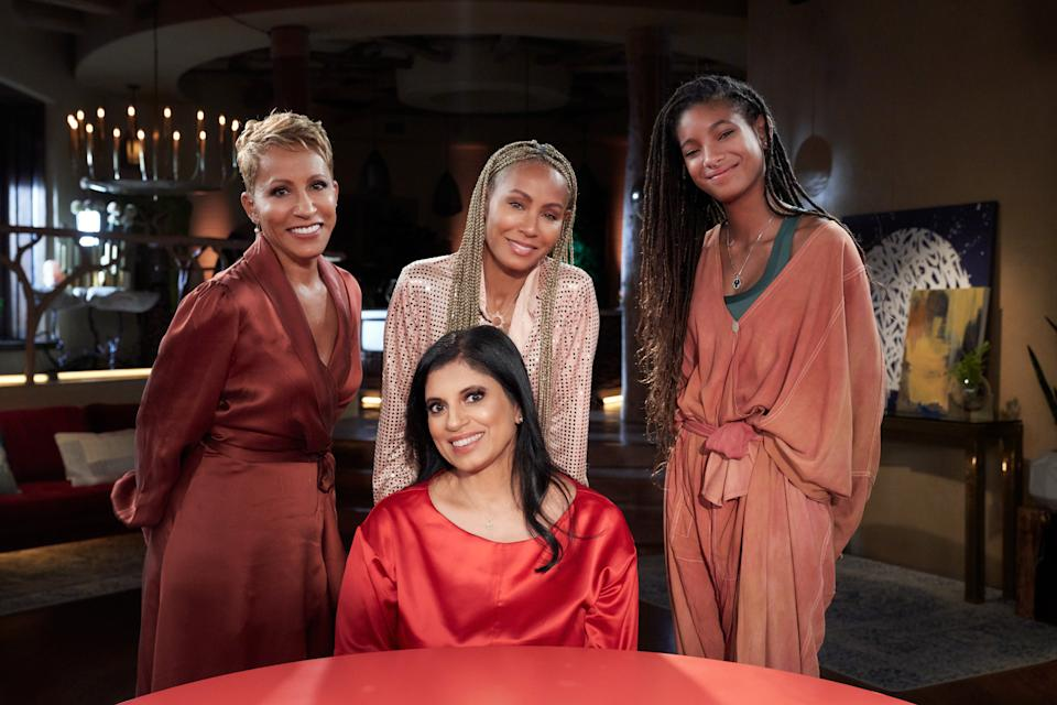 "Adrienne Banfield Norris, Jada Pinkett Smith and Willow Smith welcome Dr. Ramani Durvasula on ""Red Table Talk."" (Photo: Michael Becker)"