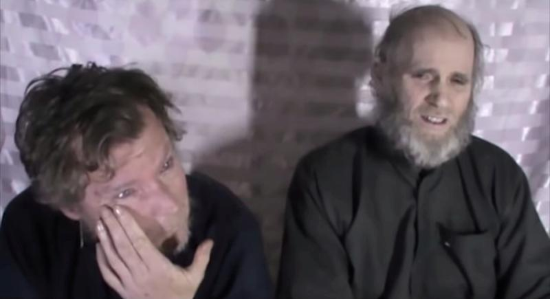 Timothy Weeks and Kevin King speak to the camera while kept hostage by Taliban insurgents.