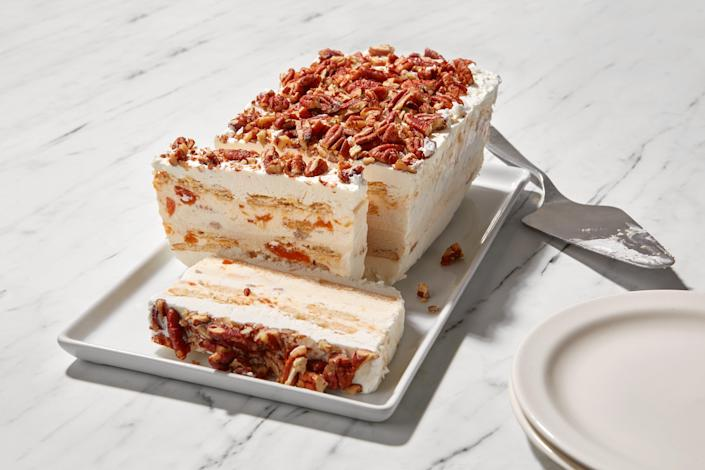 """Ritz crackers add the perfect touch of salt to this super-easy summer dessert. Make it a day or two in advance. <a href=""""https://www.epicurious.com/recipes/food/views/easy-peach-butter-pecan-ice-cream-icebox-cake?mbid=synd_yahoo_rss"""" rel=""""nofollow noopener"""" target=""""_blank"""" data-ylk=""""slk:See recipe."""" class=""""link rapid-noclick-resp"""">See recipe.</a>"""