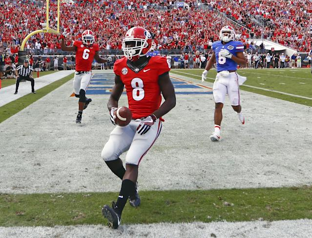 """<a class=""""link rapid-noclick-resp"""" href=""""/ncaaf/players/264542/"""" data-ylk=""""slk:Riley Ridley"""">Riley Ridley</a> caught a 14-yard touchdown pass in Georgia's loss to Florida on Oct. 29. (AP Photo/Stephen B. Morton)"""