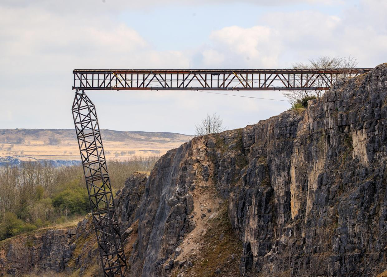 A train track at a quarry near Stoney Middleton in Derbyshire, that has been reported as a location for the latest Mission: Impossible film. Mission: Impossible star Tom Cruise has been filling action scenes on top of a moving mock steam locomotive in the North York Moors in recent days. Picture date: Sunday April 25, 2021. (Photo by Danny Lawson/PA Images via Getty Images)