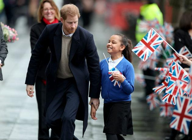 Harry takes 10-year-old Sophia Richards, a pupil from the Oasis Academy Warndon in Worcester, to meet Meghan