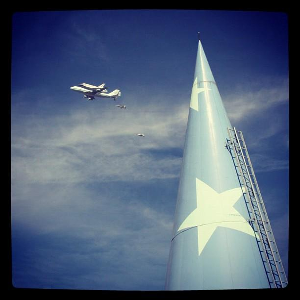 Great photo of endeavor flying by Disney Animation by Tom Corrigan posted by @pbcbstudios.