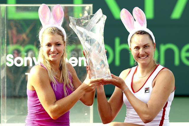 KEY BISCAYNE, FL - APRIL 01: Maria Kirilenko and Nadia Petrova of Russia pose for photographers after defeating Sara Errani Roberta Vinci of Italy after the doubles final of the Sony Ericsson Open at the Crandon Park Tennis Center on April 1, 2012 in Key Biscayne, Florida. (Photo by Matthew Stockman/Getty Images)