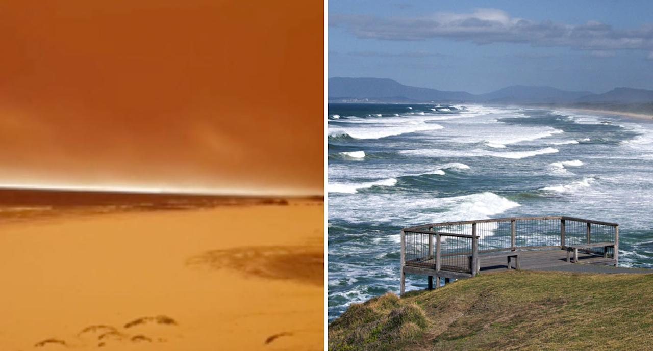A photo of Lighthouse Beach in Port Macquarie during bushfires compared to the beach on a normal day. Source: AAP and Twitter/@truuebluu